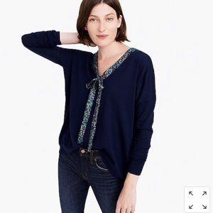 J.CREW Abigail Borg Navy Tie-Neck V-Neck Sweater